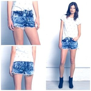rag & bone Jean Cut Off Shorts Blue Acid Wash 24
